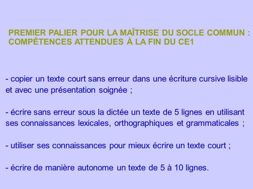 PREMIER PALIER POUR LA MAÎTRISE DU SOCLE COMMUN : COMPÉTENCES ATTENDUES À LA FIN DU CE1 - copier un texte court sans erreur dans une écriture cursive