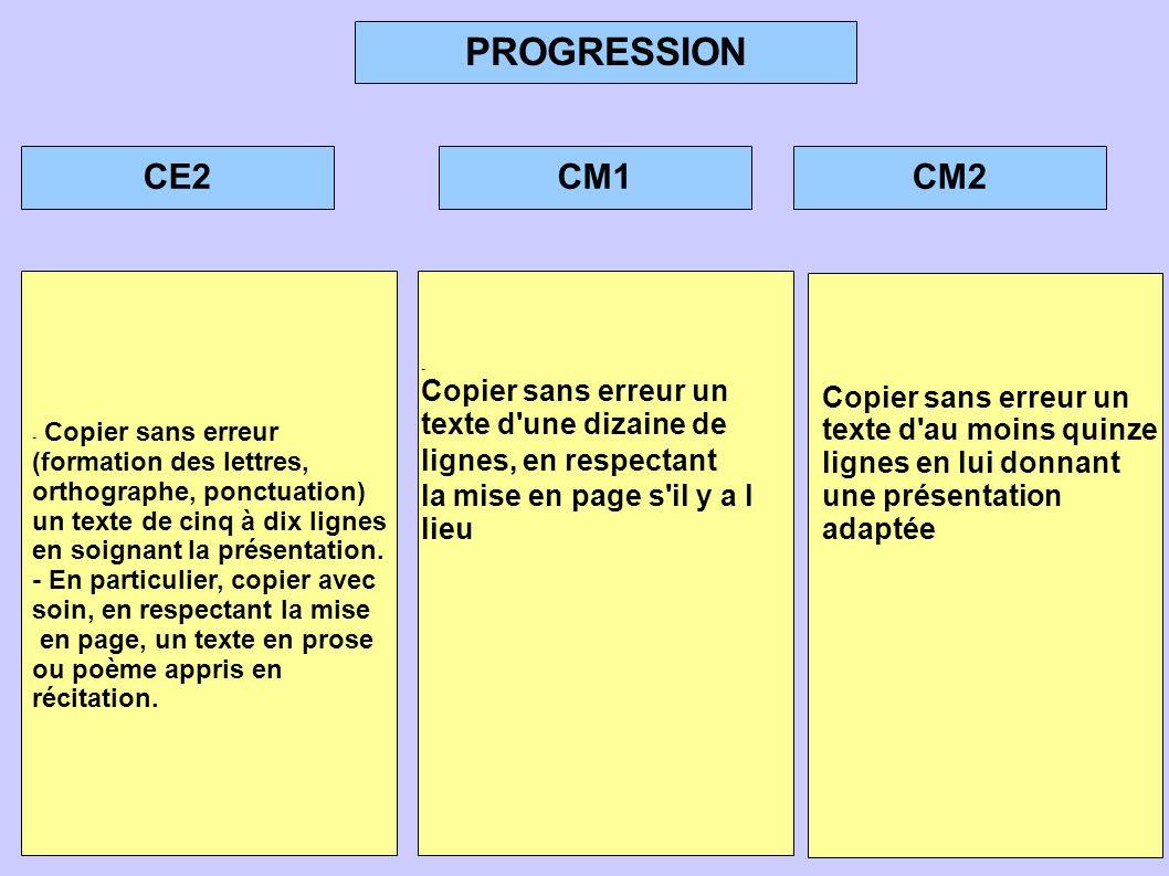 PROGRESSION CE2CM1CM2 - Copier sans erreur (formation des lettres, orthographe, ponctuation) un texte de cinq à dix lignes en soignant la présentation