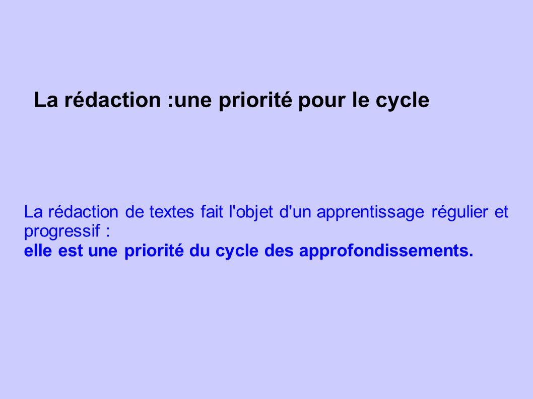 La rédaction :une priorité pour le cycle La rédaction de textes fait l'objet d'un apprentissage régulier et progressif : elle est une priorité du cycl