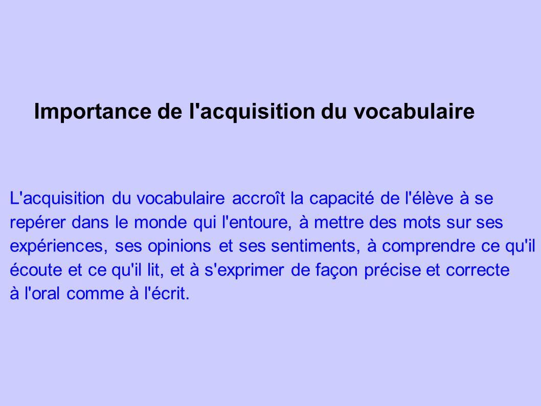 Importance de l'acquisition du vocabulaire L'acquisition du vocabulaire accroît la capacité de l'élève à se repérer dans le monde qui l'entoure, à met