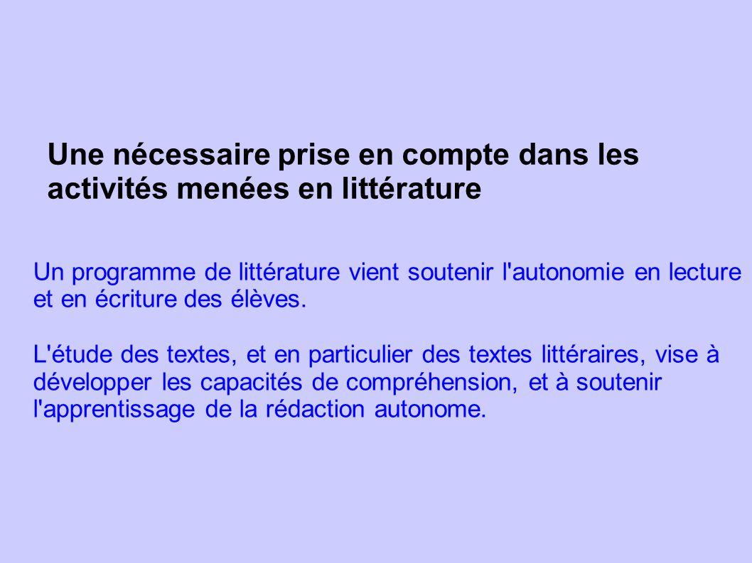 Une nécessaire prise en compte dans les activités menées en littérature Un programme de littérature vient soutenir l'autonomie en lecture et en écritu