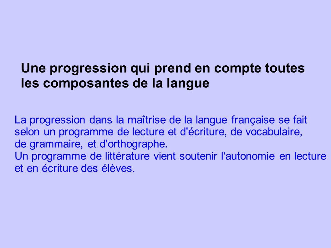 Une progression qui prend en compte toutes les composantes de la langue La progression dans la maîtrise de la langue française se fait selon un progra