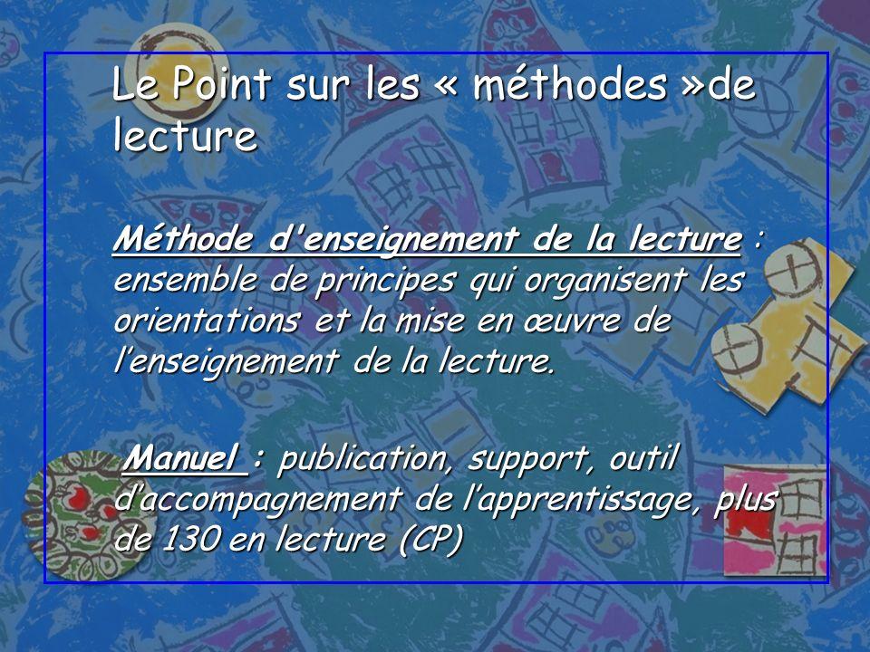 Le Point sur les « méthodes »de lecture Méthode d'enseignement de la lecture : ensemble de principes qui organisent les orientations et la mise en œuv