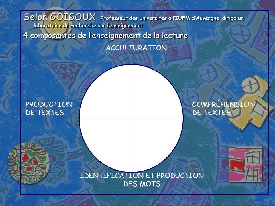 Selon GOIGOUX Professeur des universités à lIUFM dAuvergne, dirige un laboratoire de recherche sur lenseignement 4 composantes de lenseignement de la