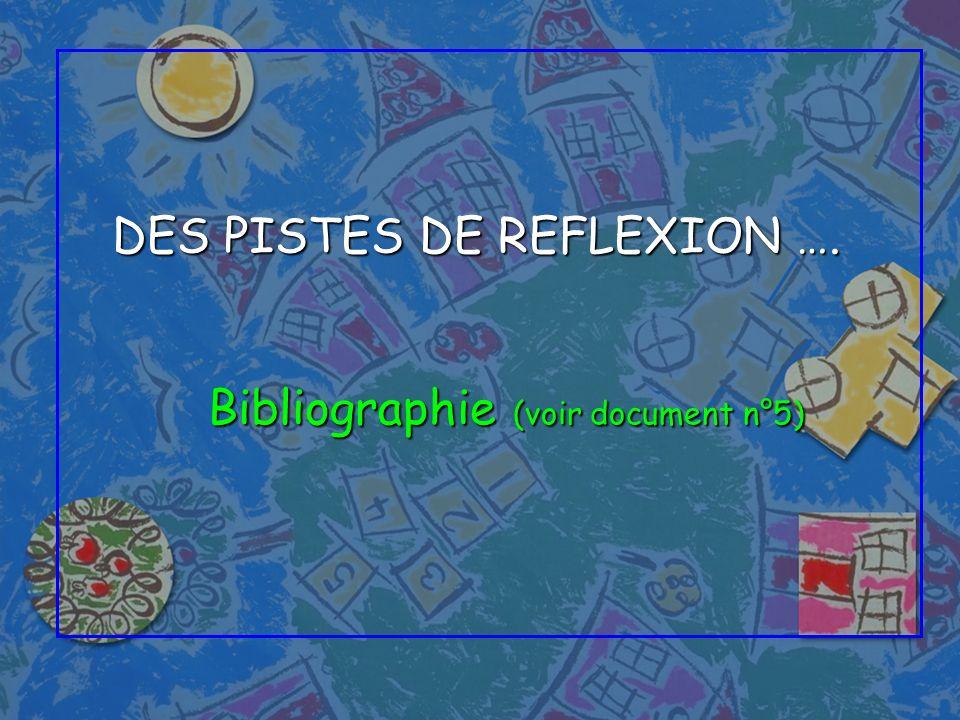 DES PISTES DE REFLEXION …. Bibliographie (voir document n°5)