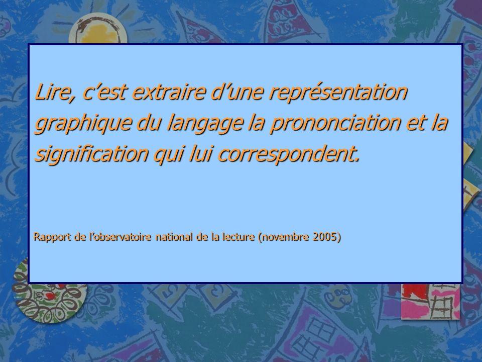 Lire, cest extraire dune représentation graphique du langage la prononciation et la signification qui lui correspondent. Rapport de lobservatoire nati