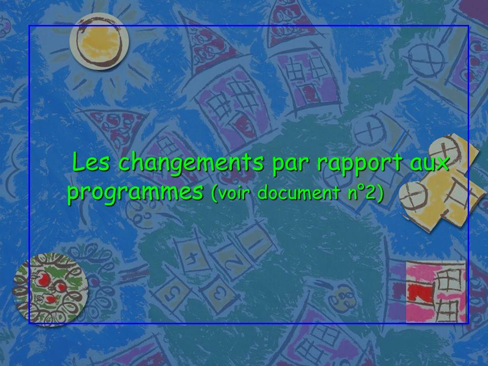 Les changements par rapport aux programmes (voir document n°2) Les changements par rapport aux programmes (voir document n°2)