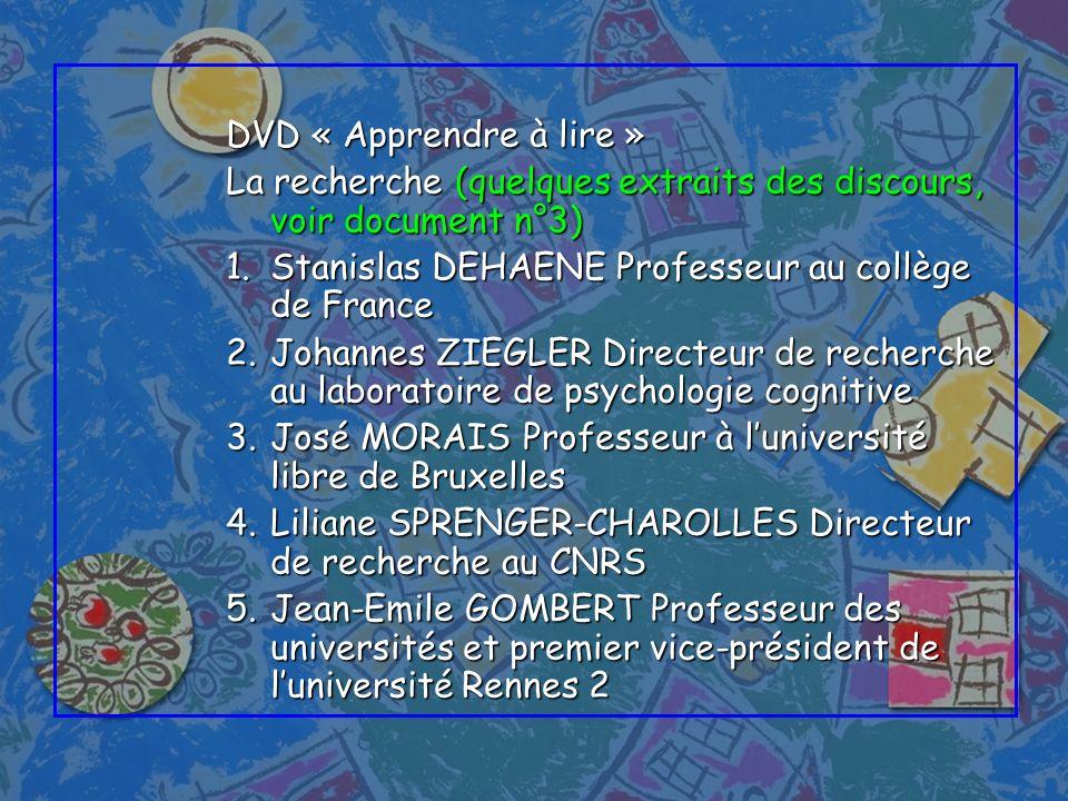 DVD « Apprendre à lire » La recherche (quelques extraits des discours, voir document n°3) 1.Stanislas DEHAENE Professeur au collège de France 2.Johann