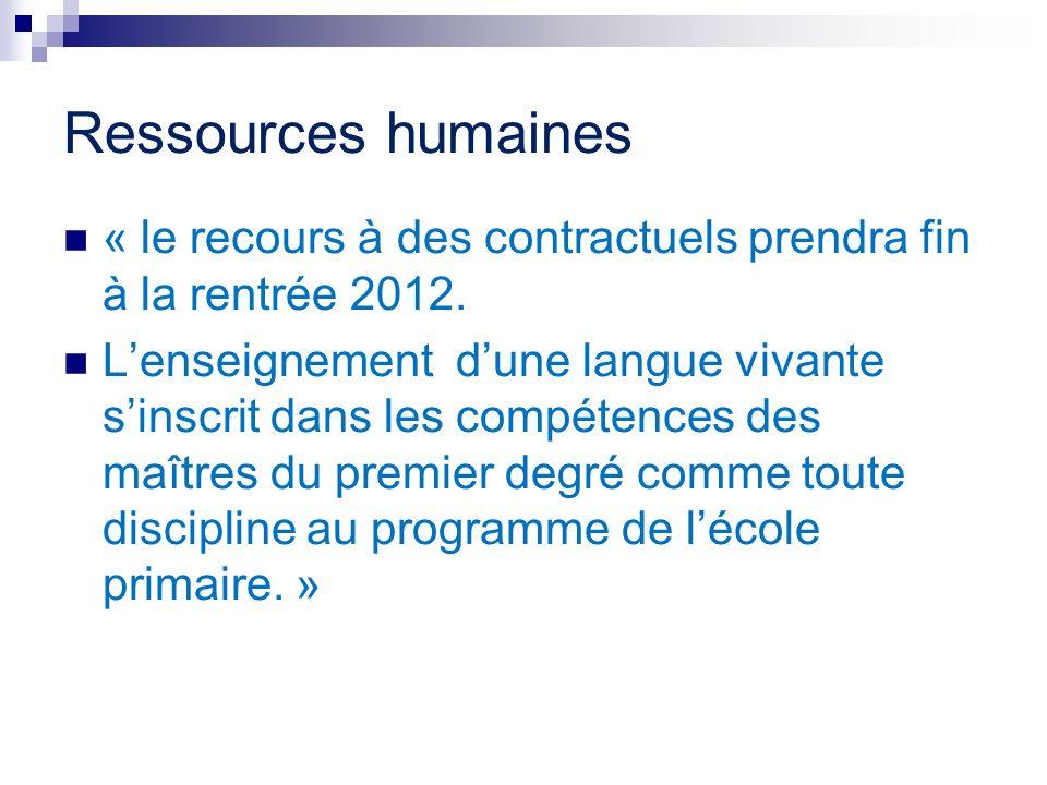 Ressources humaines « le recours à des contractuels prendra fin à la rentrée 2012. Lenseignement dune langue vivante sinscrit dans les compétences des