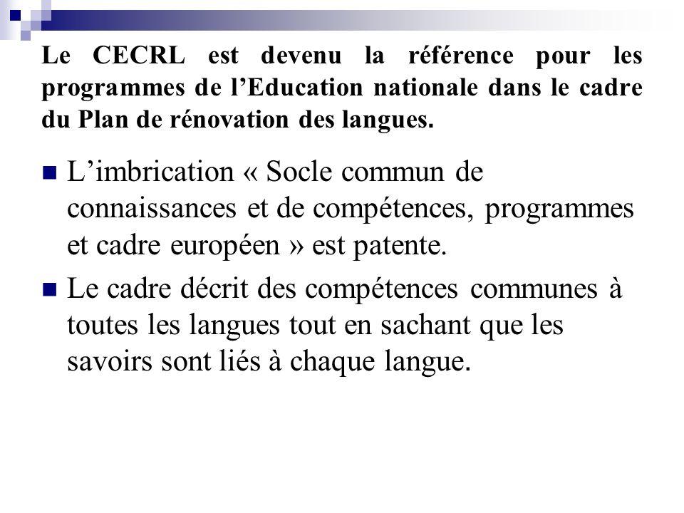 Le CECRL est devenu la référence pour les programmes de lEducation nationale dans le cadre du Plan de rénovation des langues. Limbrication « Socle com