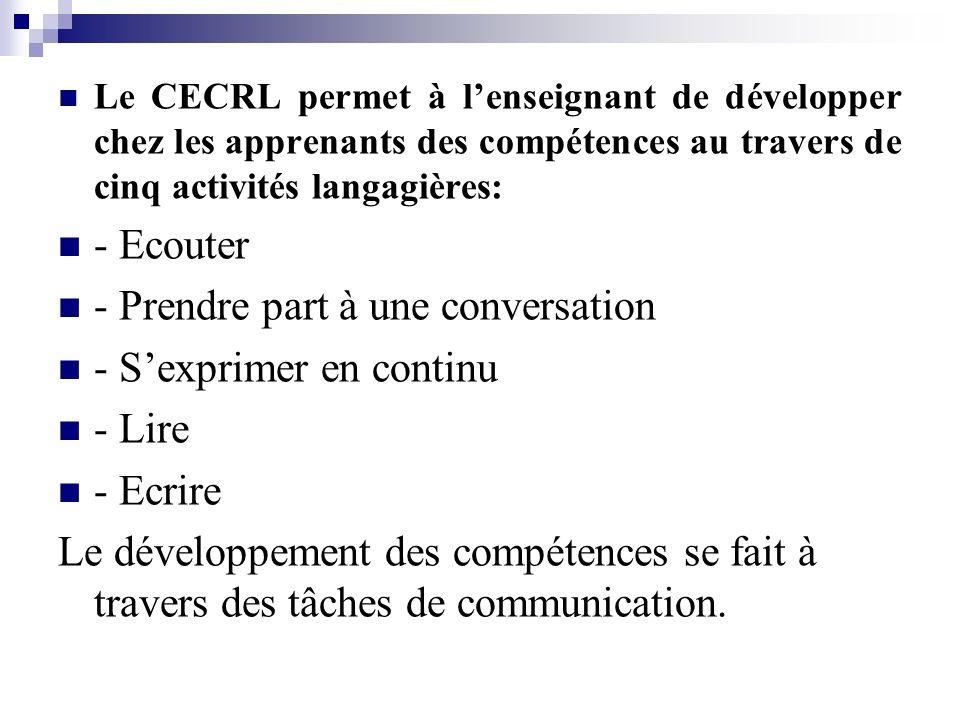 Le CECRL permet à lenseignant de développer chez les apprenants des compétences au travers de cinq activités langagières: - Ecouter - Prendre part à u