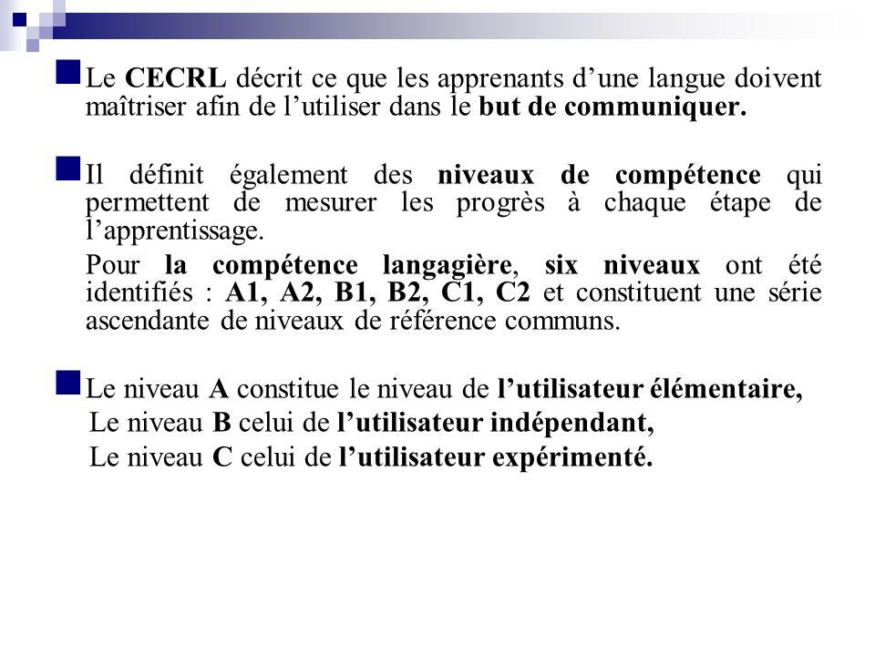 Le CECRL décrit ce que les apprenants dune langue doivent maîtriser afin de lutiliser dans le but de communiquer. Il définit également des niveaux de