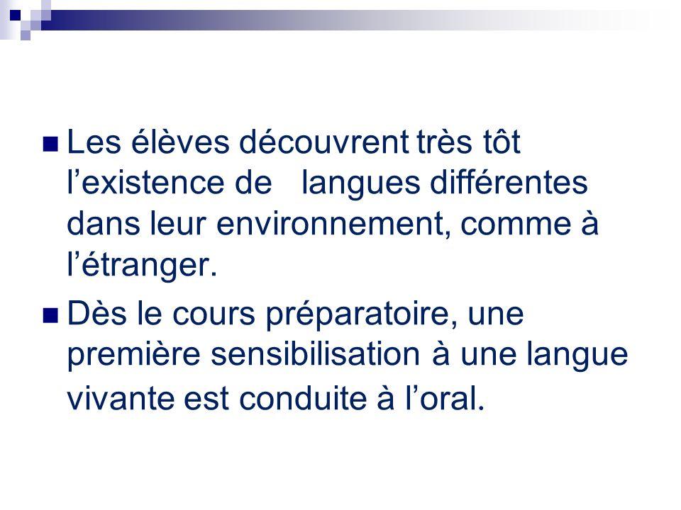 Les élèves découvrent très tôt lexistence de langues différentes dans leur environnement, comme à létranger. Dès le cours préparatoire, une première s