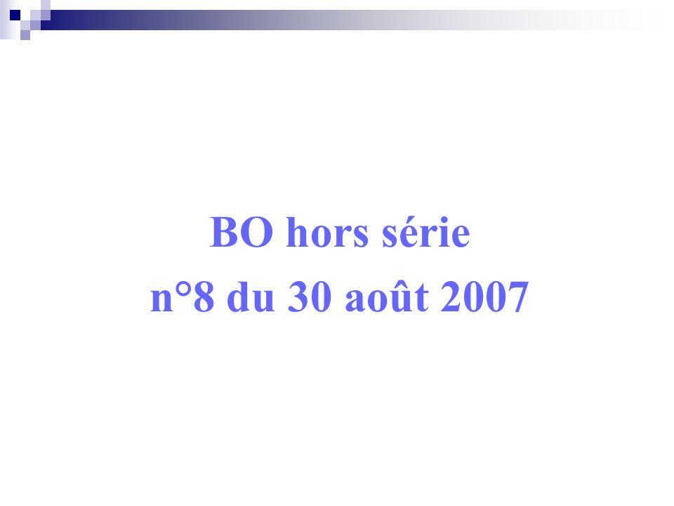 BO hors série n°8 du 30 août 2007