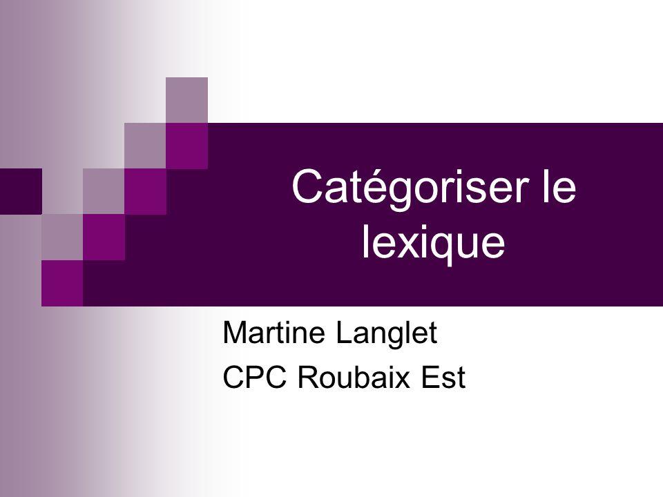 Catégoriser le lexique Martine Langlet CPC Roubaix Est