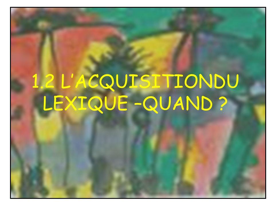 1.2 LACQUISITIONDU LEXIQUE –QUAND ?