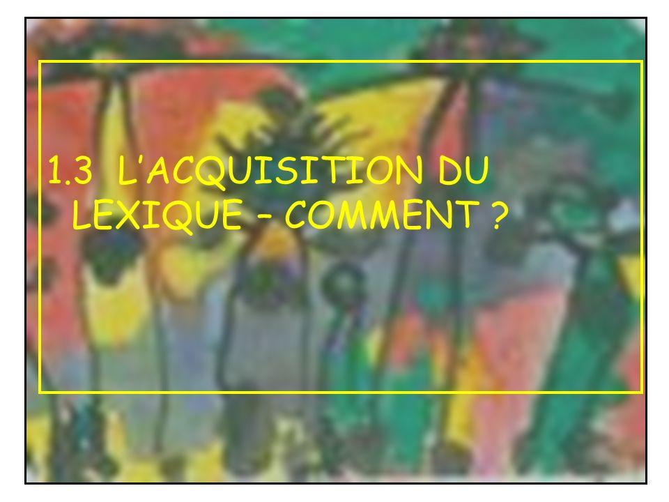 1.3 LACQUISITION DU LEXIQUE – COMMENT ?