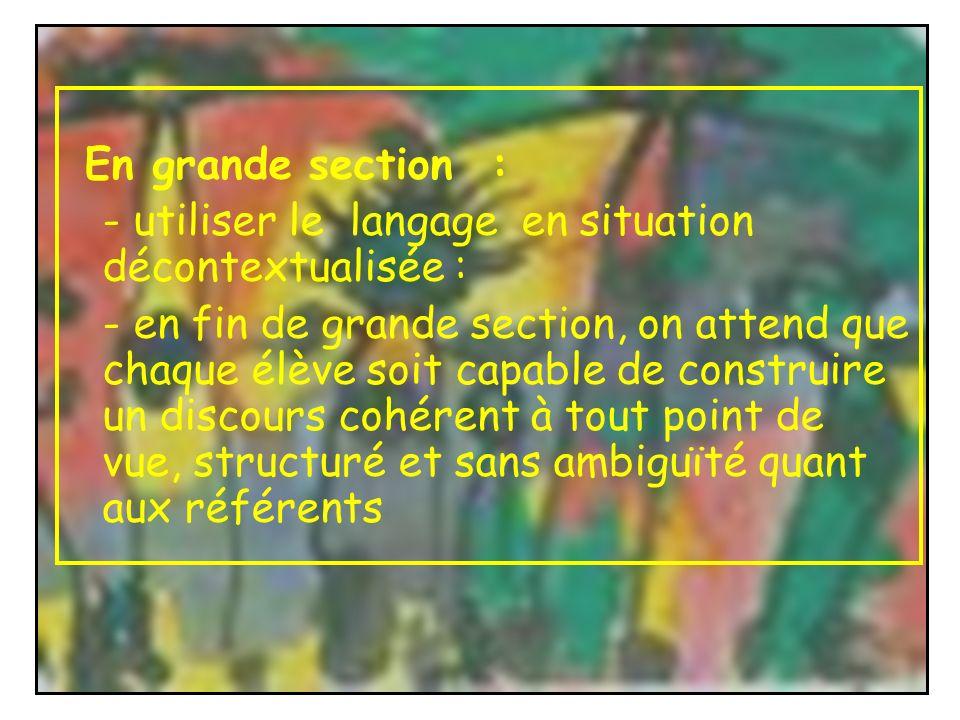 En grande section : - utiliser le langage en situation décontextualisée : - en fin de grande section, on attend que chaque élève soit capable de const