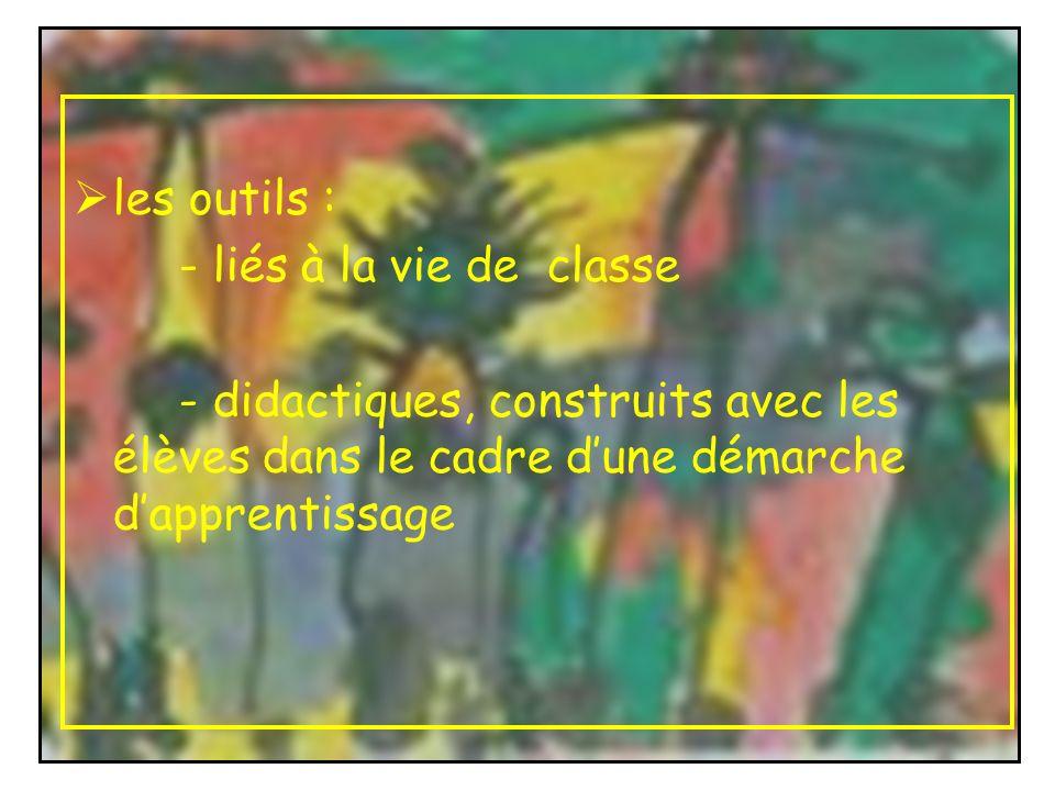 les outils : - liés à la vie de classe - didactiques, construits avec les élèves dans le cadre dune démarche dapprentissage