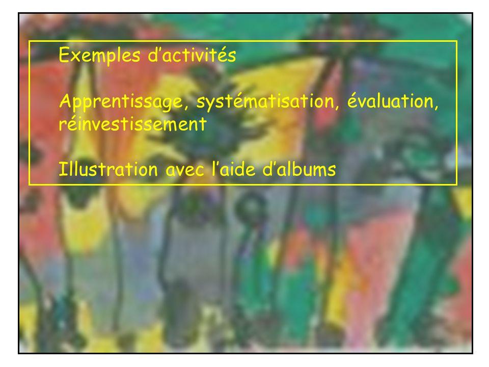 Exemples dactivités Apprentissage, systématisation, évaluation, réinvestissement Illustration avec laide dalbums