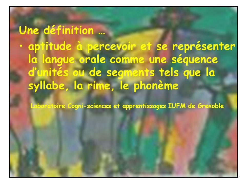 Une définition … aptitude à percevoir et se représenter la langue orale comme une séquence dunités ou de segments tels que la syllabe, la rime, le pho