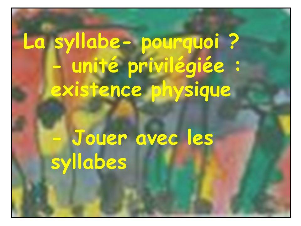 La syllabe- pourquoi ? - unité privilégiée : existence physique - Jouer avec les syllabes