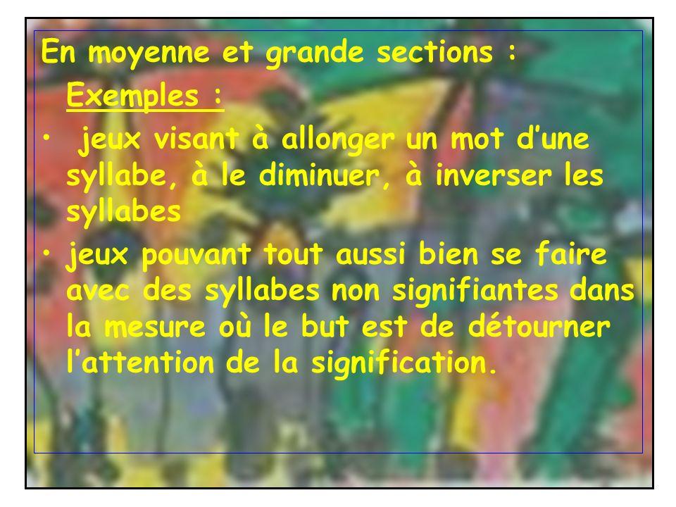 En moyenne et grande sections : Exemples : jeux visant à allonger un mot dune syllabe, à le diminuer, à inverser les syllabes jeux pouvant tout aussi