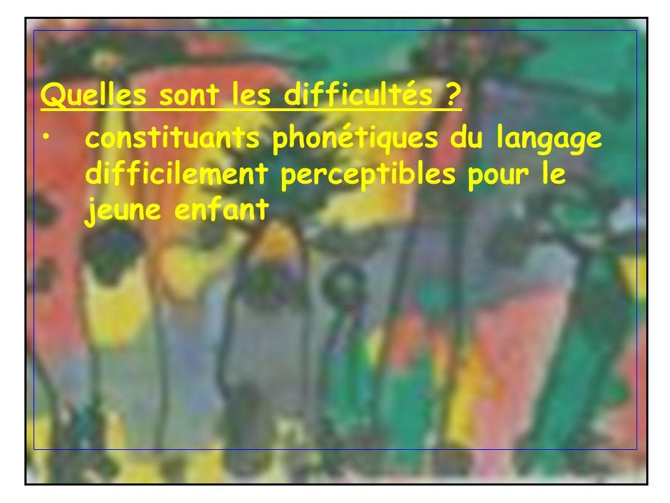 Quelles sont les difficultés ? constituants phonétiques du langage difficilement perceptibles pour le jeune enfant
