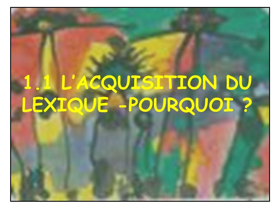 1.1 LACQUISITION DU LEXIQUE -POURQUOI ?