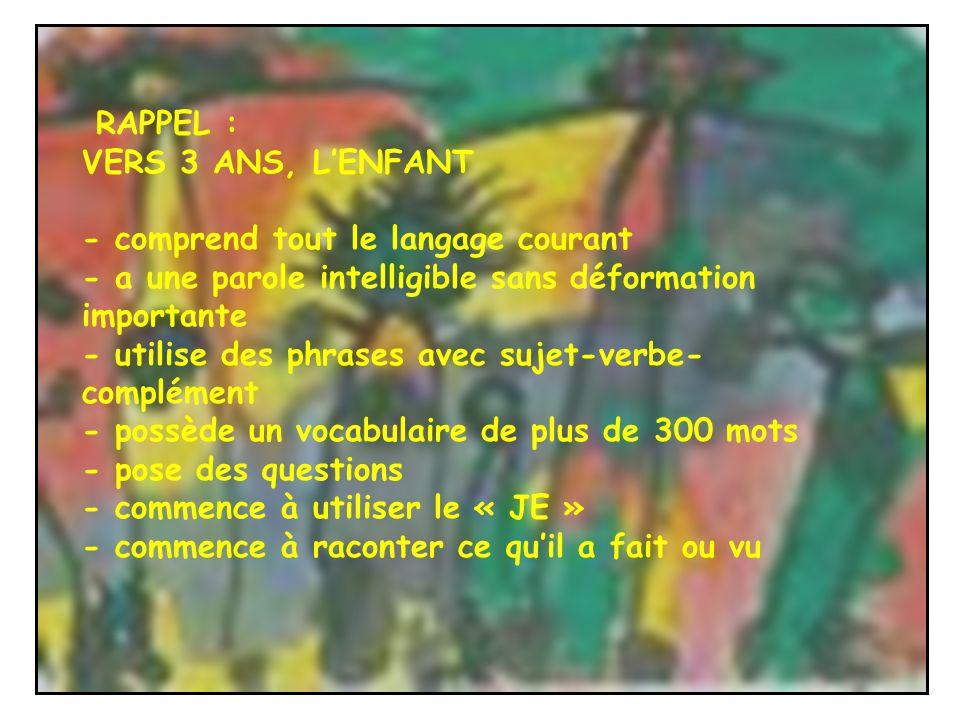 RAPPEL : VERS 3 ANS, LENFANT - comprend tout le langage courant - a une parole intelligible sans déformation importante - utilise des phrases avec suj