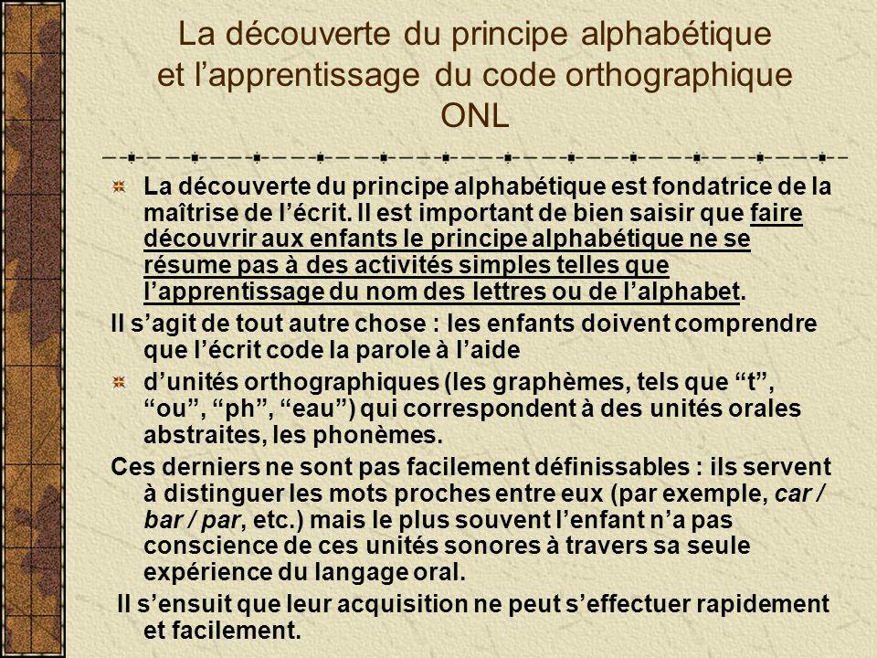 La découverte du principe alphabétique et lapprentissage du code orthographique ONL La découverte du principe alphabétique est fondatrice de la maîtri
