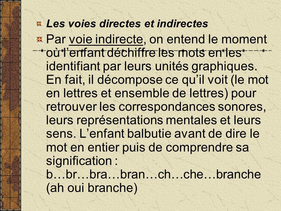 Les voies directes et indirectes Par voie indirecte, on entend le moment où lenfant déchiffre les mots en les identifiant par leurs unités graphiques.