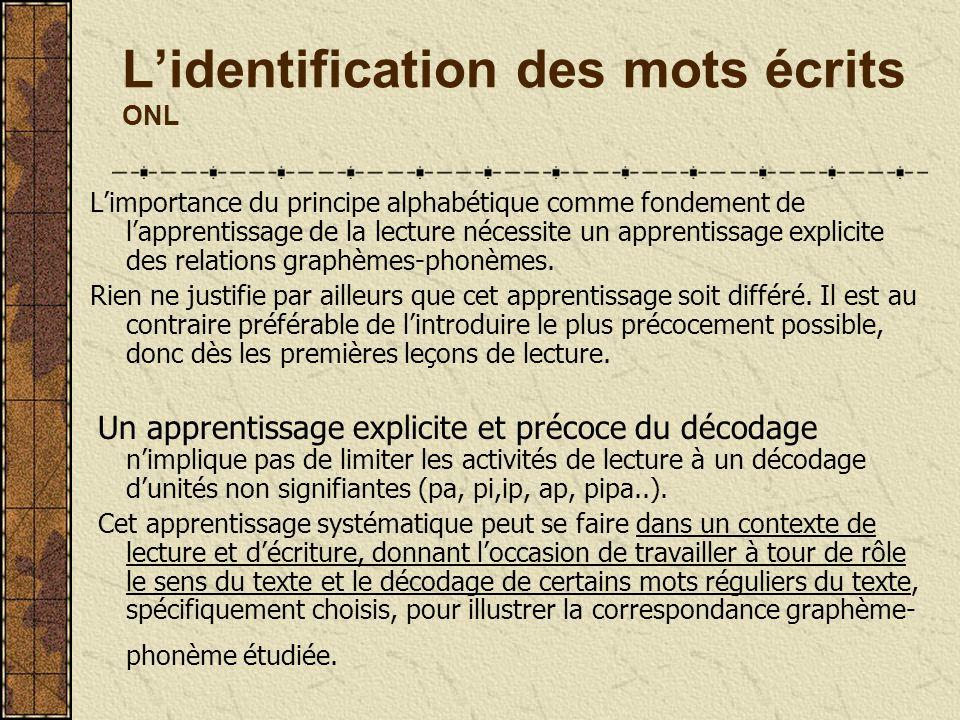 Lidentification des mots écrits ONL Limportance du principe alphabétique comme fondement de lapprentissage de la lecture nécessite un apprentissage ex