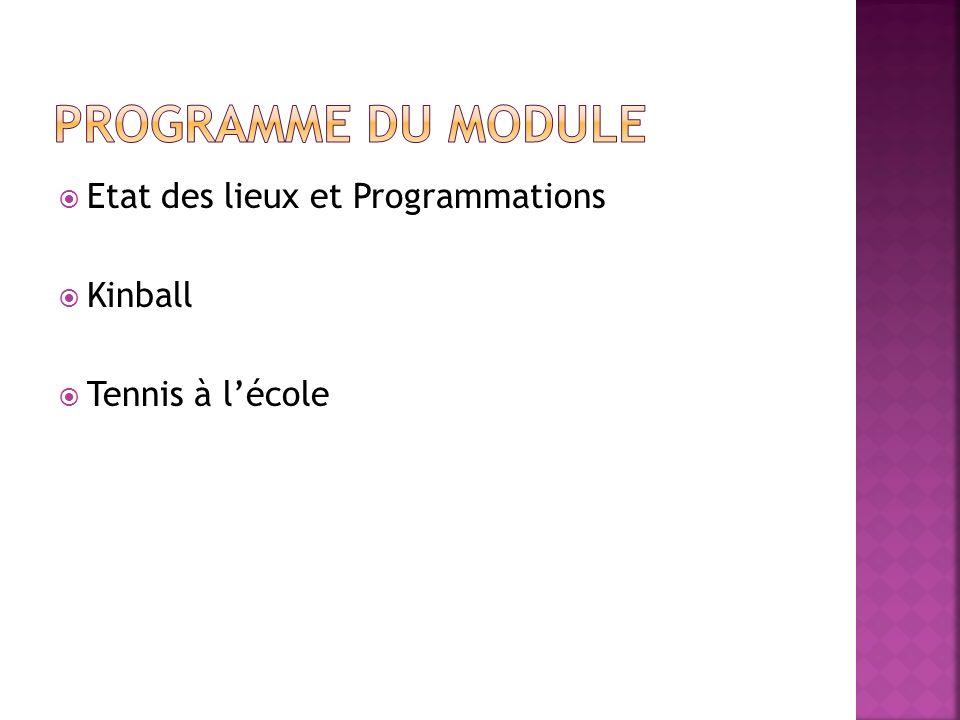 Etat des lieux et Programmations Kinball Tennis à lécole