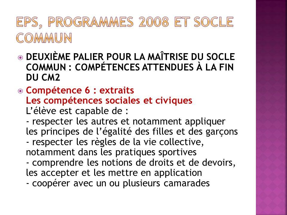 DEUXIÈME PALIER POUR LA MAÎTRISE DU SOCLE COMMUN : COMPÉTENCES ATTENDUES À LA FIN DU CM2 Compétence 6 : extraits Les compétences sociales et civiques