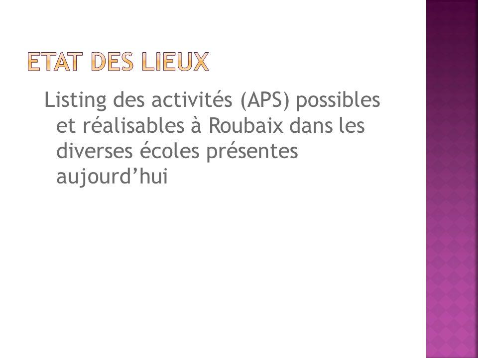 Listing des activités (APS) possibles et réalisables à Roubaix dans les diverses écoles présentes aujourdhui