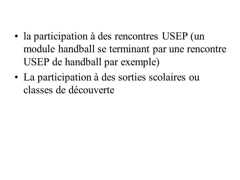 la participation à des rencontres USEP (un module handball se terminant par une rencontre USEP de handball par exemple) La participation à des sorties