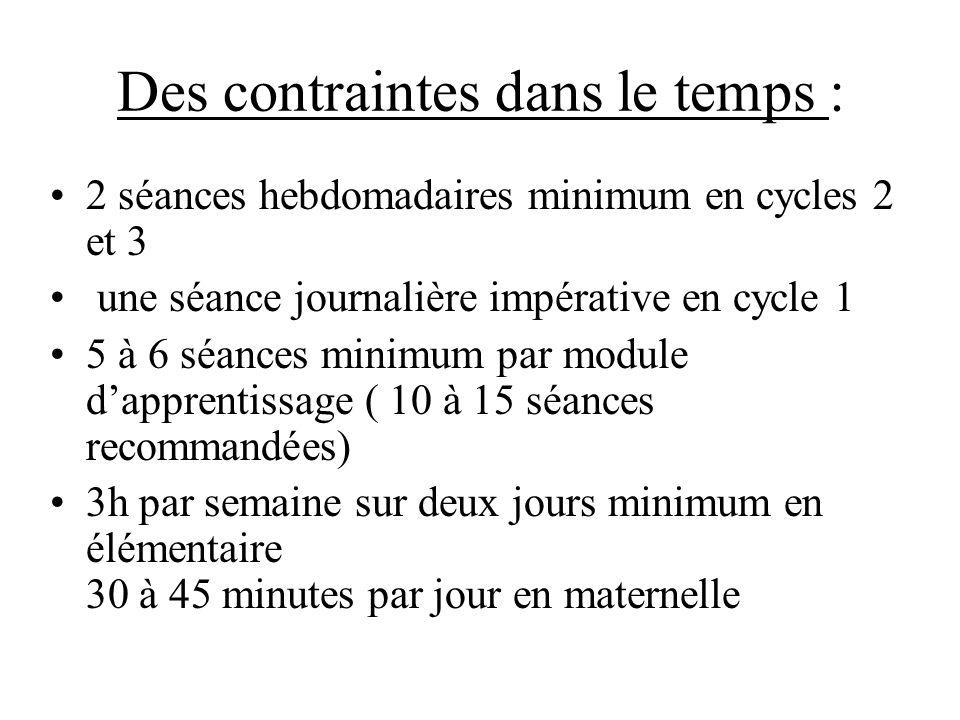 Des contraintes dans le temps : 2 séances hebdomadaires minimum en cycles 2 et 3 une séance journalière impérative en cycle 1 5 à 6 séances minimum pa