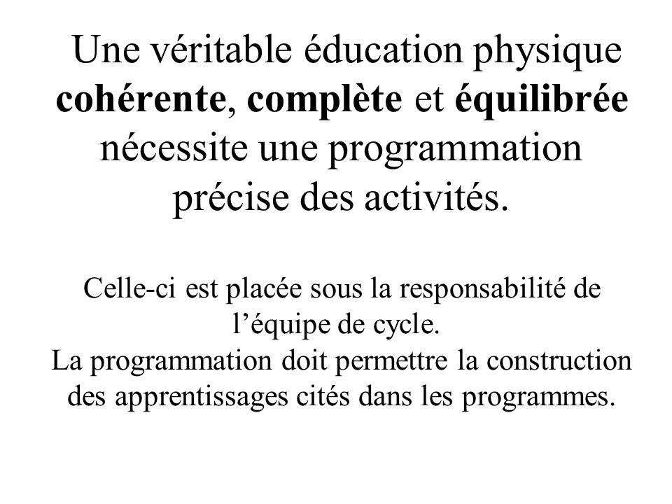 Une véritable éducation physique cohérente, complète et équilibrée nécessite une programmation précise des activités. Celle-ci est placée sous la resp