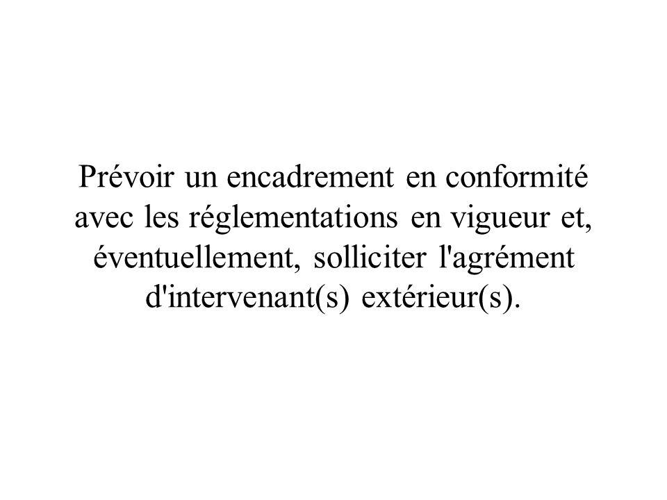Prévoir un encadrement en conformité avec les réglementations en vigueur et, éventuellement, solliciter l'agrément d'intervenant(s) extérieur(s).