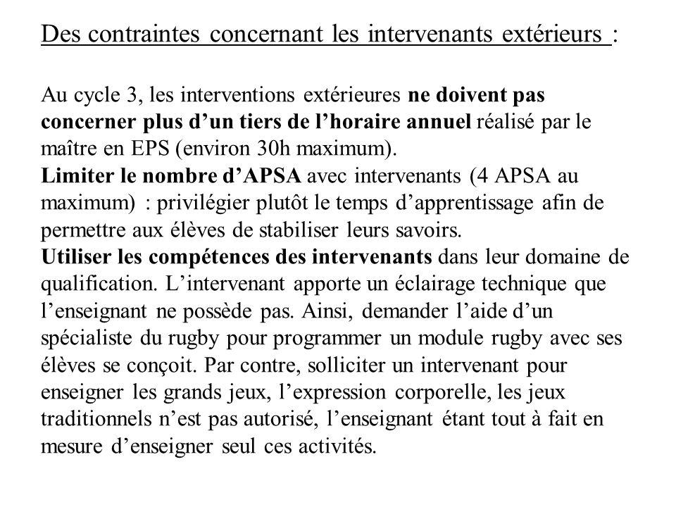 Des contraintes concernant les intervenants extérieurs : Au cycle 3, les interventions extérieures ne doivent pas concerner plus dun tiers de lhoraire