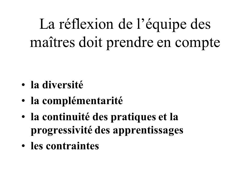 La réflexion de léquipe des maîtres doit prendre en compte la diversité la complémentarité la continuité des pratiques et la progressivité des apprent