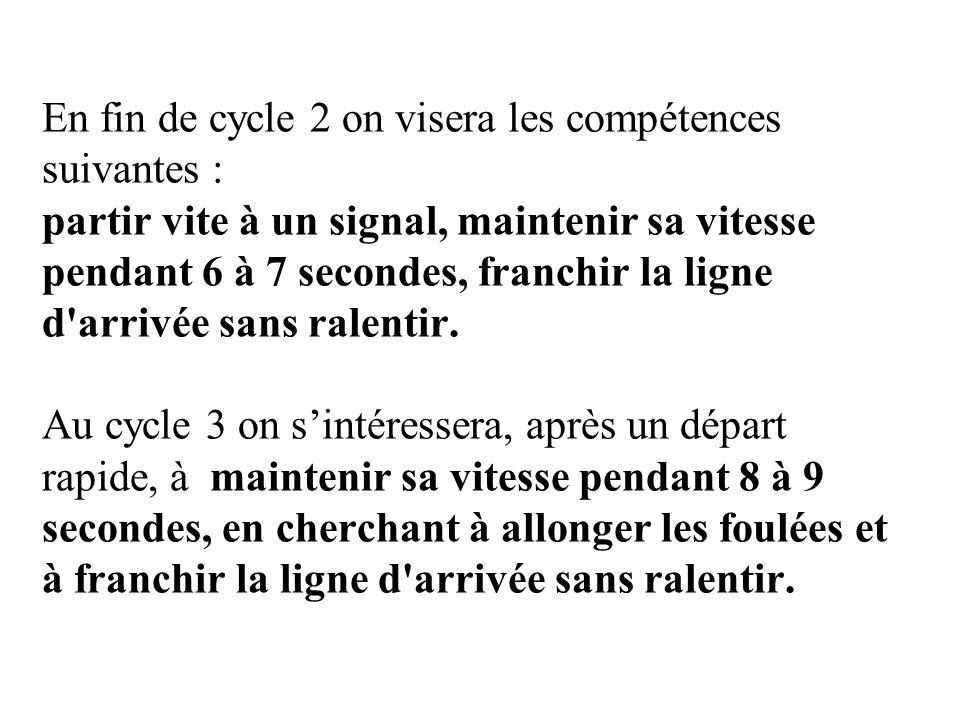 En fin de cycle 2 on visera les compétences suivantes : partir vite à un signal, maintenir sa vitesse pendant 6 à 7 secondes, franchir la ligne d'arri