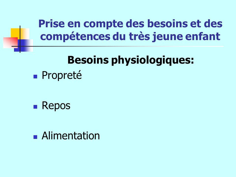 Prise en compte des besoins et des compétences du très jeune enfant Besoins physiologiques: Propreté Repos Alimentation