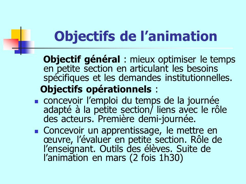 Objectifs de lanimation Objectif général : mieux optimiser le temps en petite section en articulant les besoins spécifiques et les demandes institutio