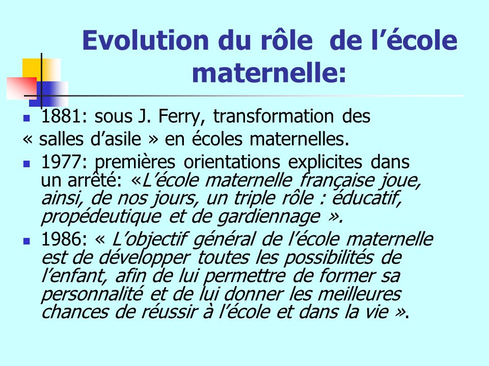 Evolution du rôle de lécole maternelle: 1881: sous J. Ferry, transformation des « salles dasile » en écoles maternelles. 1977: premières orientations
