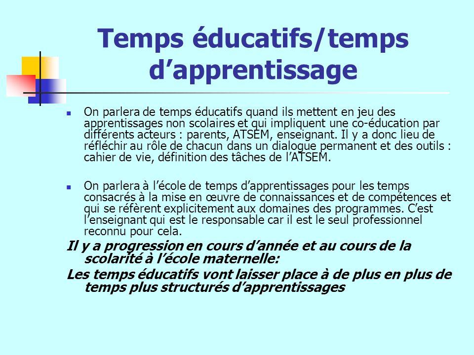 Temps éducatifs/temps dapprentissage On parlera de temps éducatifs quand ils mettent en jeu des apprentissages non scolaires et qui impliquent une co-