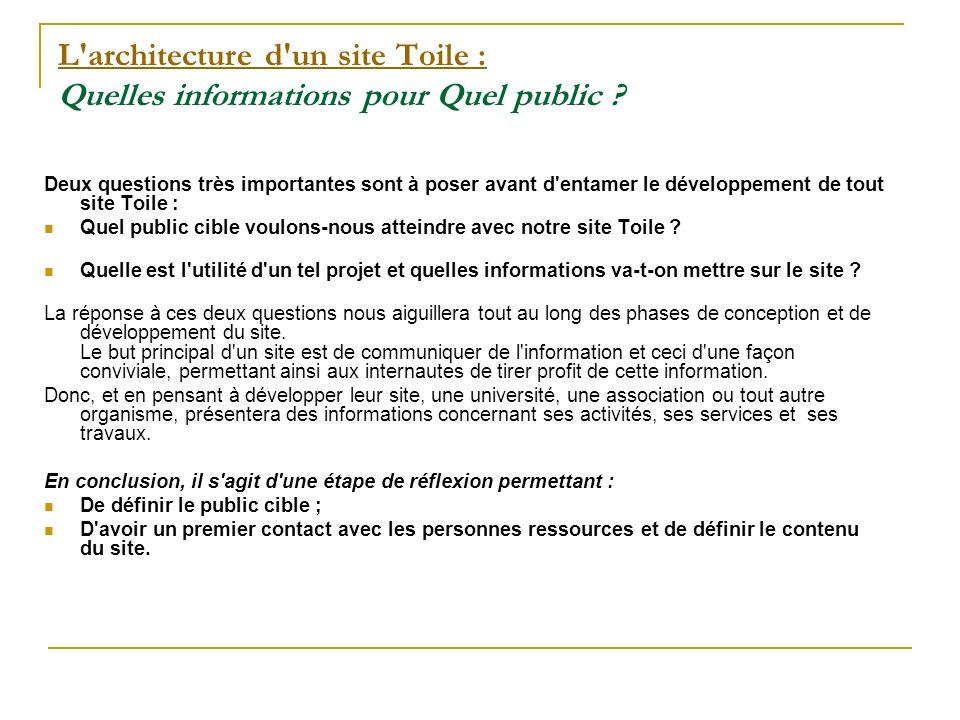 L architecture d un site Toile : L architecture d un site Toile : Quelles informations pour Quel public .