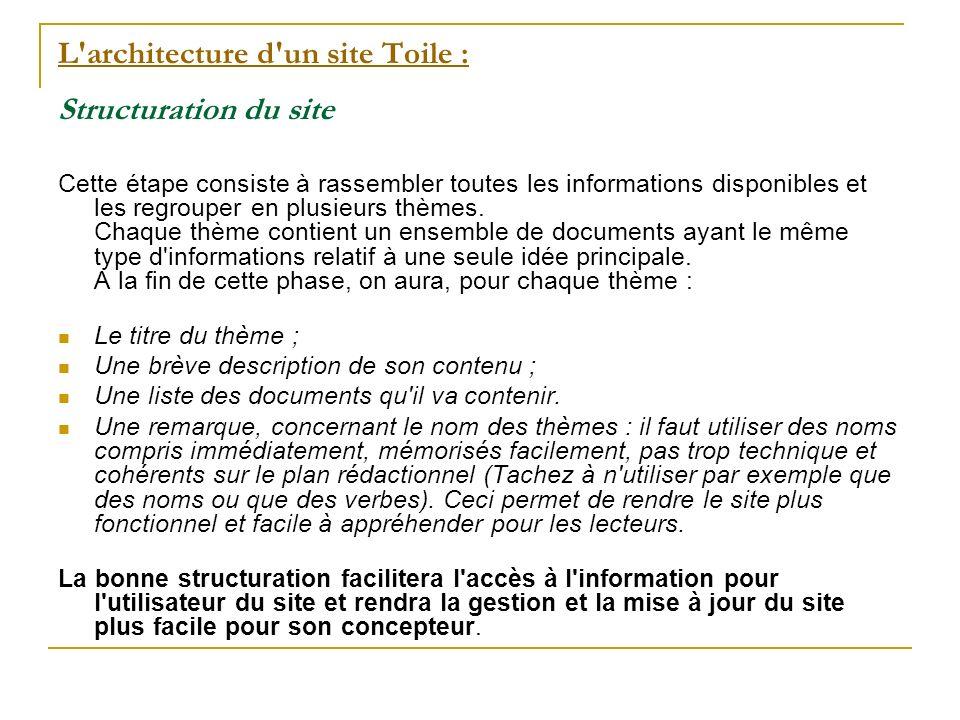 L architecture d un site Toile : L architecture d un site Toile : Structuration du site Cette étape consiste à rassembler toutes les informations disponibles et les regrouper en plusieurs thèmes.