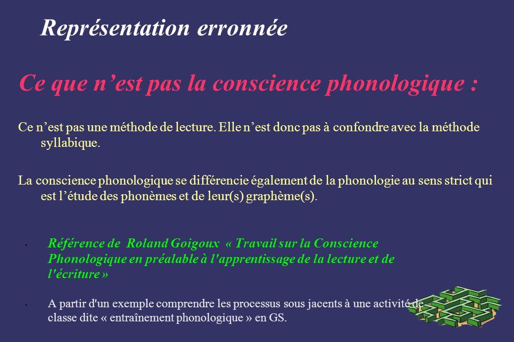 Représentation erronnée Référence de Roland Goigoux « Travail sur la Conscience Phonologique en préalable à l'apprentissage de la lecture et de l'écri